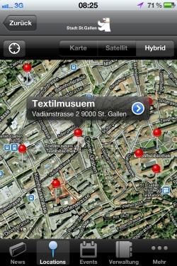 St.Gallen App mit interaktiver Karte